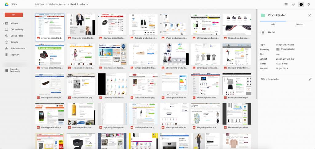 Skærmbillede af produktsider